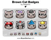 Brown Cat Subscriber - Loyalty - Bit Badges for Twitch, Discord or Youtube