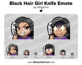 Cute Chibi Black Hair Brown Skin Knife Emote for Twitch, Discord or Youtube