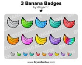 3 Banana Subscriber - Loyalty - Bit Badges for Twitch, Discord or Youtube