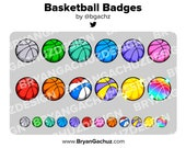 Colorful Basketball Subscriber - Loyalty - Bit Badges for Twitch, Discord or Youtube