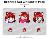 Personalizable Red Hair Cat Girl Emote Pack for Twitch, Discord or Youtube