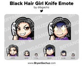 Cute Chibi Black Hair Knife Emote for Twitch, Discord or Youtube
