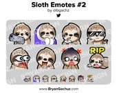 Sloth Gun, Cozy, SIP, Cool, POG, LUL, Shocked and Rip Emotes for Twitch, Discord or Youtube