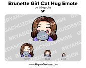 Cute Chibi Brunette/Brown Hair Girl with Cat Emote for Twitch, Discord or Youtube