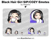 Cute Chibi Black Hair Girl SIP and COZY Emotes for Twitch, Discord or Youtube