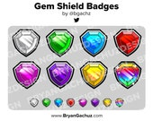 Gem Shield Subscriber - Loyalty - Bit Badges - Channel Points for Twitch, Discord or Youtube