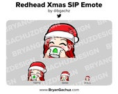 Cute Chibi Christmas SIP Redhead/Red Hair Emote for Twitch, Discord or Youtube | Christmas