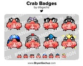 Cute Chibi Kawaii Crab Subscriber - Loyalty - Bit Badges - Channel Points for Twitch, Discord or Youtube