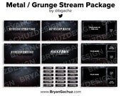 ANIMATED Metal Grunge Stream Package for Twitch   Animated scenes, 4 static scenes, 18 panels, 3 overlays & 1 background