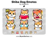 Shiba Dog Wave, Love, Rage, HYPE, Sad and Pat Emotes for Twitch, Discord or Youtube