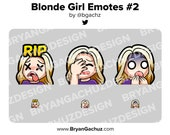 Cute Chibi RIP, Facepalm and Shocked Blonde Hair Girl Emotes for Twitch, Discord or Youtube