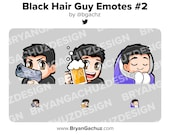 Gun, Cheers and Cozy Black Hair Guy Emotes for Twitch, Discord or Youtube