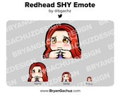 Cute Chibi SHY Redhead/Red Hair Emote for Twitch, Discord or Youtube | Christmas