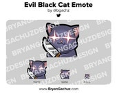 Cute Chibi Kawaii Evil Black Cat Knife Emote for Twitch, Discord or Youtube