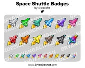 Colorful Space Shuttle Subscriber - Loyalty - Bit Badges - Channel Points for Twitch, Discord or Youtube
