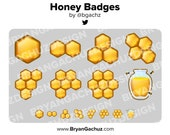 Honey / Honeycomb Subscriber - Loyalty - Bit Badges for Twitch, Discord or Youtube