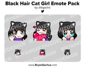 Personalizable Black Hair Cat Girl Emote Pack for Twitch, Discord or Youtube