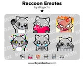 Raccoon Wave, Love, Rage, HYPE, Sad and Pat Emotes for Twitch, Discord or Youtube