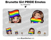 Cute Chibi Brunette/Brown Hair Brown Skin Girl PRIDE Flag and Heart Emotes for Twitch, Discord or Youtube