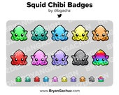 Squid Chibi Subscriber - Loyalty - Bit Badges for Twitch, Discord or Youtube