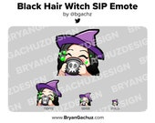 Cute Chibi Witch Black Hair Emote for Twitch, Discord or Youtube | Halloween