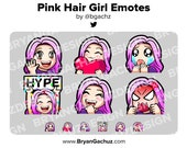 Cute Chibi Wave, Love, Sad, LUL, Hype and Rage Pink Hair Girl Emotes for Twitch, Discord or Youtube