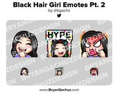 LUL, Hype and Rage Black Hair Girl Emotes for Twitch, Discord or Youtube
