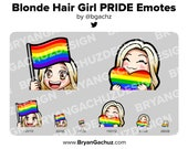 Cute Chibi Blonde Hair Girl PRIDE Flag and Heart Emotes for Twitch, Discord or Youtube