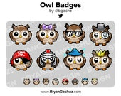Owl Subscriber - Loyalty - Bit Badges for Twitch, Discord or Youtube
