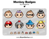 Monkey Subscriber - Loyalty - Bit Badges - Channel Points for Twitch, Discord or Youtube