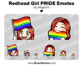 Cute Chibi Redhead Hair Girl PRIDE Flag and Heart Emotes for Twitch, Discord or Youtube