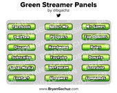 Green Streamer Panels for Twitch, Discord or Youtube