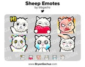 Sheep/Lamb Wave, Love, Rage, HYPE, Sad and Pat Emotes for Twitch, Discord or Youtube