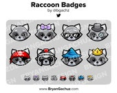 Raccoon Subscriber - Loyalty - Bit Badges for Twitch, Discord or Youtube