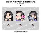 Cute Chibi Shy, Kiss and Gun Black Hair Girl Emotes for Twitch, Discord or Youtube