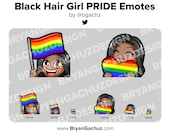 Cute Chibi Black Hair Dark Skin Girl PRIDE Flag and Heart Emotes for Twitch, Discord or Youtube
