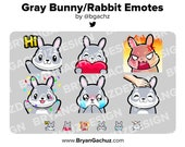 Gray Bunny / Rabbit Emotes for Twitch, Discord or Youtube