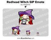 Cute Chibi Witch Redhead/Red Hair Emote for Twitch, Discord or Youtube | Halloween