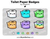 Kawaii Toilet Paper Subscriber - Loyalty - Bit Badges for Twitch, Discord or Youtube