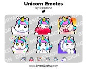Colorful Unicorn Wave, Love, Rage, HYPE, Sad and Pat Emotes for Twitch, Discord or Youtube
