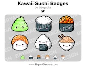 Kawaii Sushi Subscriber - Loyalty - Bit Badges for Twitch, Discord or Youtube