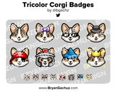 Tricolor Corgi Dog Subscriber - Loyalty - Bit Badges - Channel Points for Twitch, Discord or Youtube