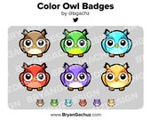 Color Owl Subscriber - Loyalty - Bit Badges for Twitch, Discord or Youtube
