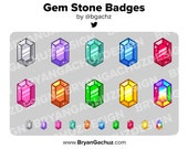 Colorful Gem Stone Subscriber - Loyalty - Bit Badges for Twitch, Discord or Youtube