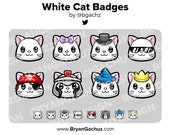 White Cat Subscriber - Loyalty - Bit Badges - Channel Points for Twitch, Discord or Youtube