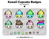 Kawaii Cupcake Subscriber - Loyalty - Bit Badges for Twitch, Discord or Youtube