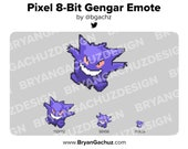 Pixel 8-Bit Gengar Emote for Twitch, Discord or Youtube