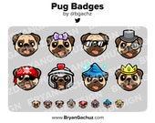 Pug Dog Subscriber - Loyalty - Bit Badges for Twitch, Discord or Youtube