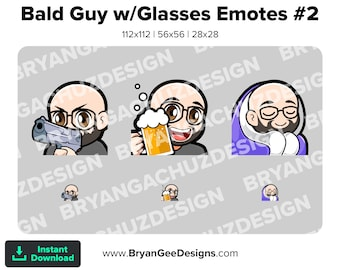 Kawaii Chibi Gun, Cheers and Cozy Bald Guy with Glasses Emotes for Twitch, Discord or Youtube