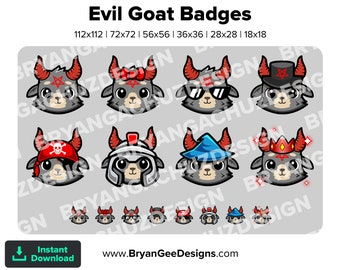 Cute Chibi Kawaii Evil Goat Subscriber - Loyalty - Bit Badges - Channel Points for Twitch, Discord or Youtube